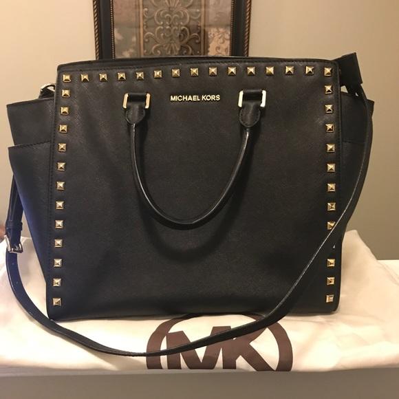 68d2cf1f1abbcb KORS Michael Kors Handbags - Michael Kors Black with gold studs handbag